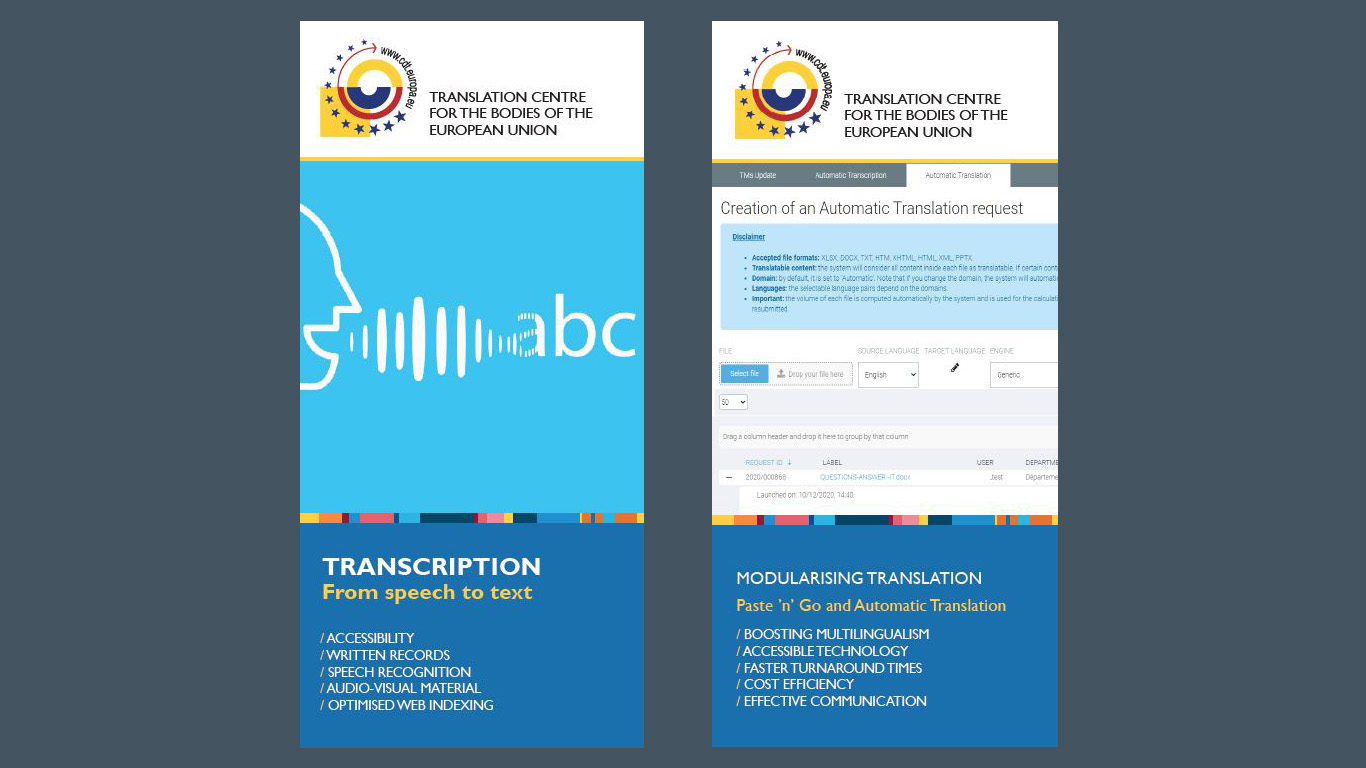 New services as from January 2021: Automatic Transcription, Automatic Translation, Paste 'n' Go